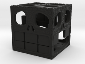 Happy Skull D6 17mm  in Black Natural Versatile Plastic