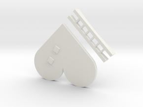 Fractal Heart Barrette in White Natural Versatile Plastic