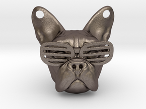 French Bulldog Pendant in Polished Bronzed Silver Steel