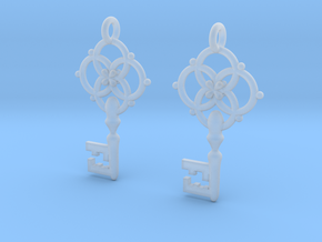Old Key Earrings in Smooth Fine Detail Plastic