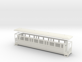 OO9 large tramway coach in White Strong & Flexible