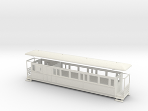 OO9 Large Tramway brake coach in White Strong & Flexible