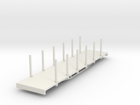 OO9 bogie flat with stakes (long) in White Strong & Flexible