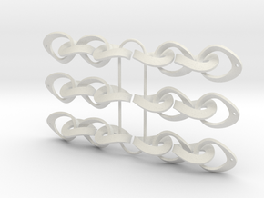 Mobius Strip Earrings 3 x pairs in White Natural Versatile Plastic