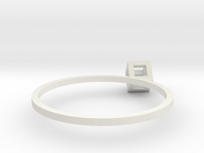 Cube Wireframe Ring in White Natural Versatile Plastic
