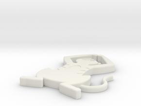 Detailed Cat Pendant in White Natural Versatile Plastic