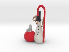 Snowman And Xmas Ornament in Full Color Sandstone