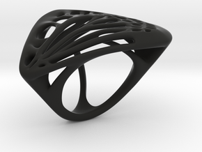 Butterfly Ring [ Size 4 ] in Black Natural Versatile Plastic