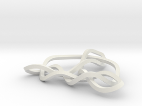 3D Mobius Trinity Knot in White Natural Versatile Plastic