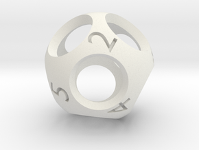 Hollow d9 - Nine-sided Die in White Strong & Flexible