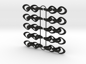 Mobius Strip Earrings - 5 pairs in Black Strong & Flexible