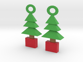 3d  Xmas Tree  Earrings in Full Color Sandstone