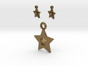 Star Pendant And Earrings in Natural Bronze