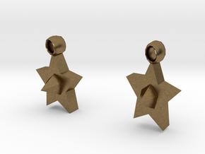 Star earrings in Natural Bronze