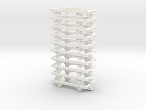 OO9 underframe (medium) 10 pack in White Strong & Flexible Polished