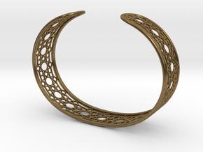 Intricate Geometric Pattern Cuff Bracelet in Natural Bronze