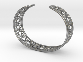 Intricate Geometric Pattern Cuff Bracelet in Natural Silver