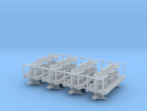 Baggage Cart Kit S Scale 4 carts in Smooth Fine Detail Plastic