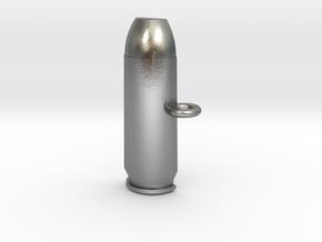 .50AE Bullet Pet Tag / Key Fob in Natural Silver