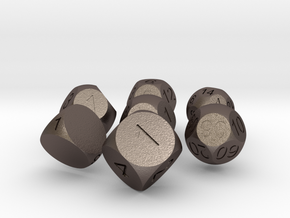 Sphere Dice Set in Polished Bronzed Silver Steel