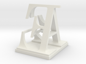 Two way letter / initial A&E in White Natural Versatile Plastic