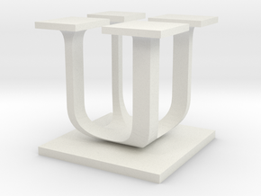 Two way letter / initial U&U in White Natural Versatile Plastic