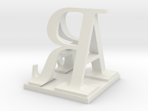 Two way letter / initial A&R in White Natural Versatile Plastic