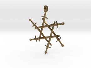 Six-pointed Swordlock Pendant in Raw Bronze