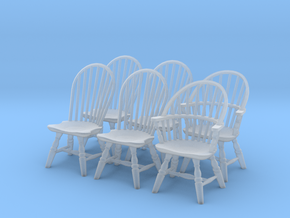 1:43 Windsor Chair Set in Smooth Fine Detail Plastic