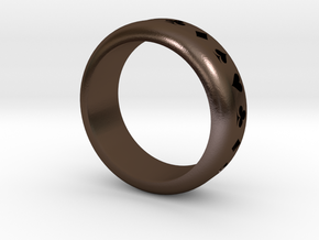 Ring (Card Suits) in Polished Bronze Steel