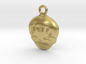 Smiling Child - head - Design for pendant/earring  in Natural Brass