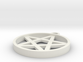 Simple Pentagram Pendant in White Natural Versatile Plastic
