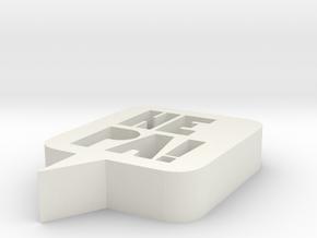 HEPA logo - 3x0,6 in - 7,6cm in White Natural Versatile Plastic