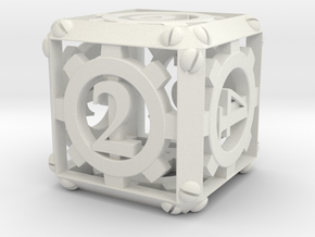 Steampunk d6 in White Natural Versatile Plastic