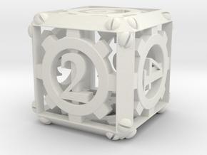 Steampunk d6 in White Natural Versatile Plastic