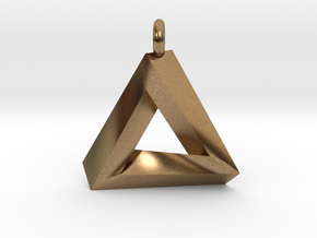 Penrose Triangle - Pendant (3.5cm | 3.5mm O-Ring) in Natural Brass