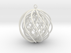 Suspended Icosahedron Ornament in White Natural Versatile Plastic