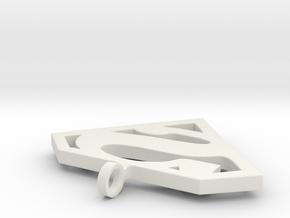 Superman Classic Pendant in White Natural Versatile Plastic