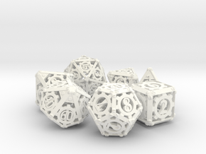 Steampunk Dice Set in White Strong & Flexible Polished