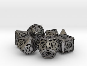 Steampunk Dice Set in Polished Nickel Steel
