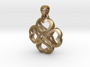 Cross Hearts in Polished Gold Steel