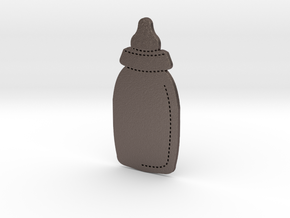 Baby Bottle in Polished Bronzed Silver Steel