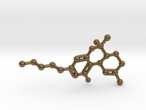 THC Molecule Necklace Keychain in Raw Bronze