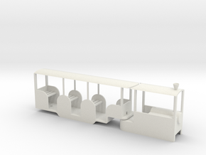 Miniature Railway Railcar 1:29th on 9mm in White Natural Versatile Plastic