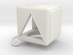 Shape Sorter Box Cube Pendant Keyring in White Natural Versatile Plastic