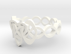 Trinity Celtic Knot Ring in White Processed Versatile Plastic