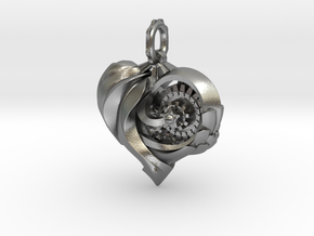 Inner workings Mech-Organic Heart in Natural Silver