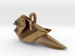 Origami Cardinal finch in Natural Brass