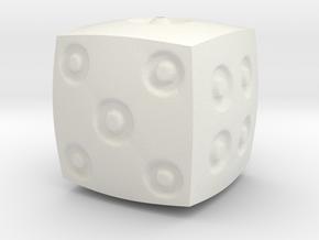 Dimple d6 in White Natural Versatile Plastic