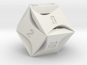 Flash Rhombic d12 in White Natural Versatile Plastic